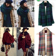 Fashion Winter Neck Warm Large Checked Plaid Scarf Tartan Wrap Shawl Stole Pashmina HOT