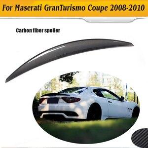 Carbon Fiber car rear trunk boot lip spoiler wing for Maserati GranTurismo GT 2 Door flat trunk 06-10 Non Convertible Black FRP