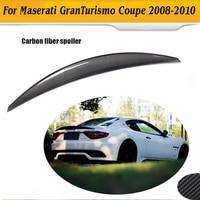 Carbon Fiber car rear trunk boot lip spoiler wing for Maserati GranTurismo GT 2 Door flat trunk 06 10 Non Convertible Black FRP