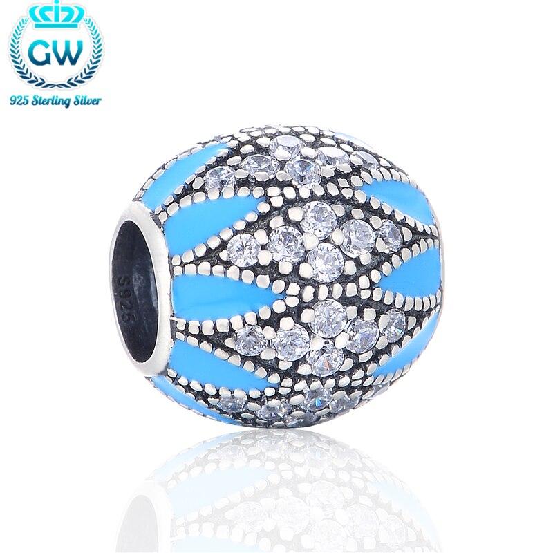 d8cbd802bf00 Color 925 Plata cristal grano redondo azul y piedra clara envío libre al  por mayor Cuentas GW marca joyería x331