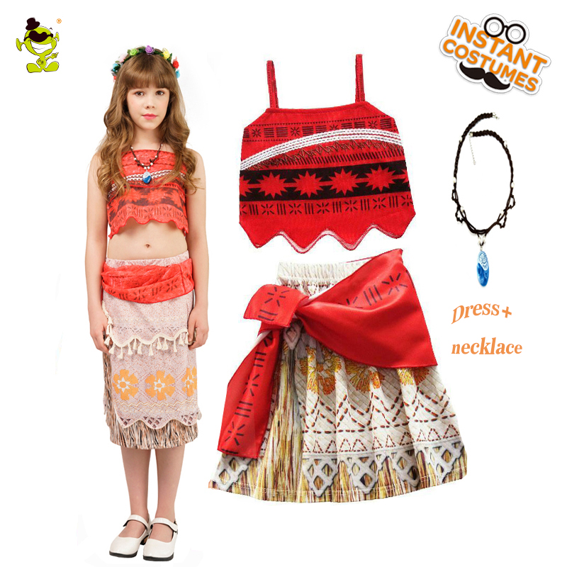 Kid Princess Moana Cosplay Costume for Children Vaiana dress Costume with Necklace for Christmas &Halloween Costumes Girls Gifts