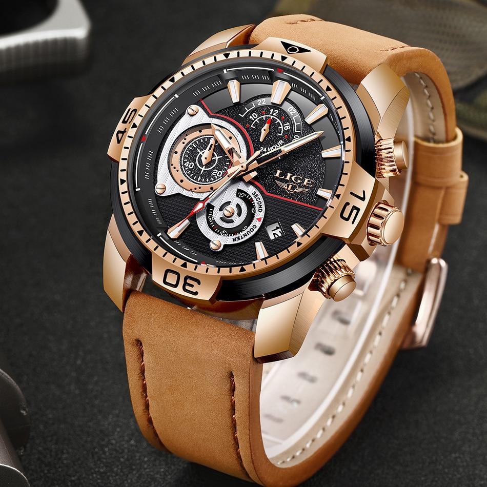 LIGE Mens Watches Top Brand Luxury Casual Leather Quartz Clock Male Sport Waterproof Watch Gold Watch Men Relogio Masculino