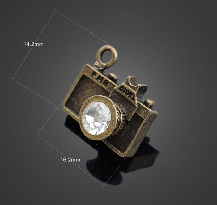 50pcs Antique Bronze Crystal Camera Charm Pendant-Jewelry Findings Necklace Bracelet Earrings Fashion Accessories 16.2mmX14.2mm image