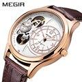 Мужские часы с кожаным ремешком MEGIR  деловые кварцевые наручные часы розового золота  мужские часы Relogio Masculino Relojes Hombre