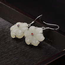 S925 pure silver natural inlaid with Hetian Jade Baiyu flower lady personality temperament earrings earrings silver jewelry inlaid natural blue earrings shine all match earrings fashion temperament section mixed batch