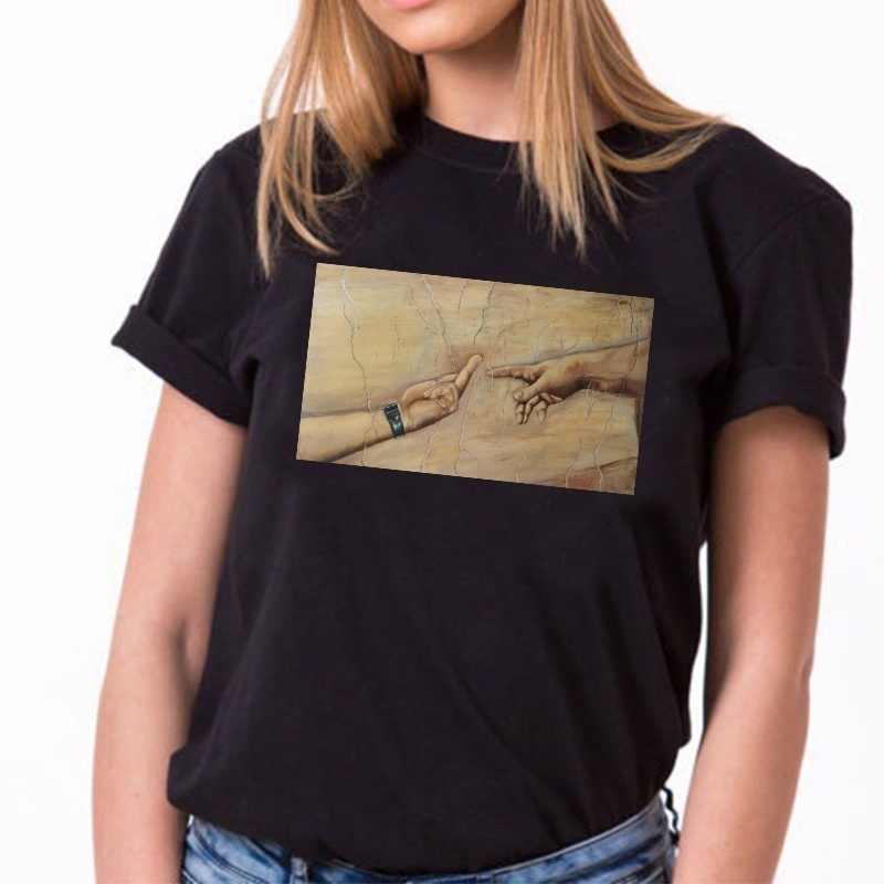 11b1f16ff7f0 PUDO-JF Michelangelo Creation of Adam Middler Finger Summer Short Sleeve  Printed T-shirts