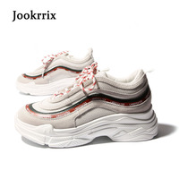 Jookrrix 2018 New Spring Fashion Lady Casual White Shoes Women Sneaker Leisure Platform Shoes Breathable Casual