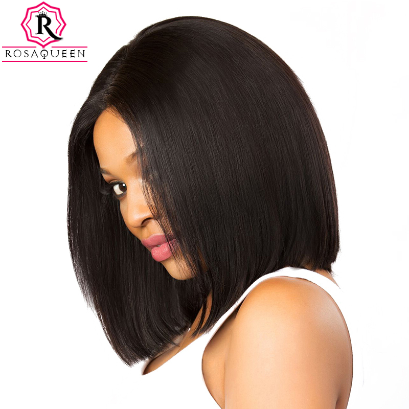Rosa Queen 250% Density Bob Lace Front Wig With Baby Hair Straight Remy Hair Short Human Hair Wigs For Black Women