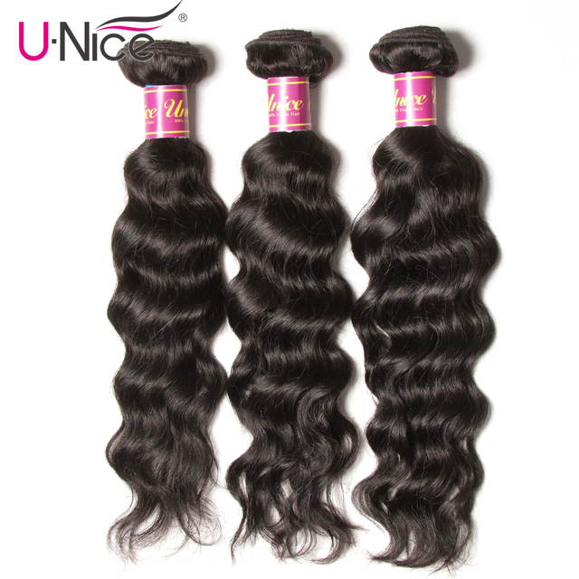 Unice Hair Brazilian Natural Wave Hair Extension 3 Bundles 100% Human Hair Weaves 8-26inch Natural Color Remy Hair Bundles