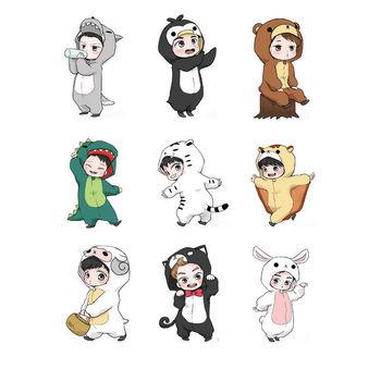 KPOP EXO Cartoon Animal Decal Stickers Album Scrapbook Chen Suho Sehun 9pcsSet Car phone