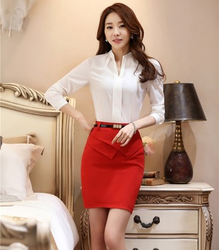 Formal OL Styles Spring Autumn Professional Office Suits Tops and Skirt For Ladies Office Work Wear Shirts Blouse With Skirt Set formal wear