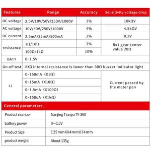 Image 5 - TY 360 DC / AC 1000V וולטמטר מדמטר 500mA מד 1K ההתנגדות מטר אנלוגי Multimeter כלי