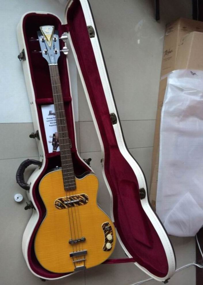 NEW Arrival Kay Electric Bass Guitar 4 String In Yellow Burst price not include the case Free Shipping 140605