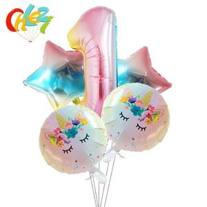 Image 2 - 5Pcs 1 2 3หมายเลขตกแต่งGlobosเด็กผู้หญิงของขวัญเด็กการ์ตูนยูนิคอร์นรูปบอลลูนฮีเลียมเด็กแสดงของเล่นเด็ก