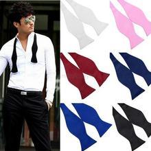 Men Bowties Solid Color Plain Silk Self Tie Bow