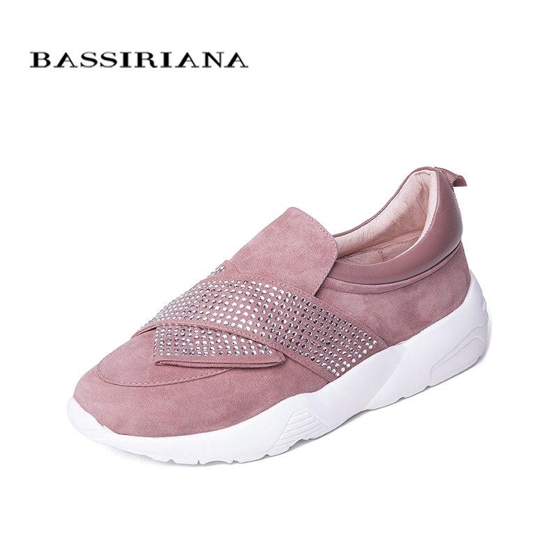 Bassiriana/Новые Натуральная кожа повседневная обувь на плоской подошве женская обувь на платформе без шнуровки белая подошва черный розовый цв...