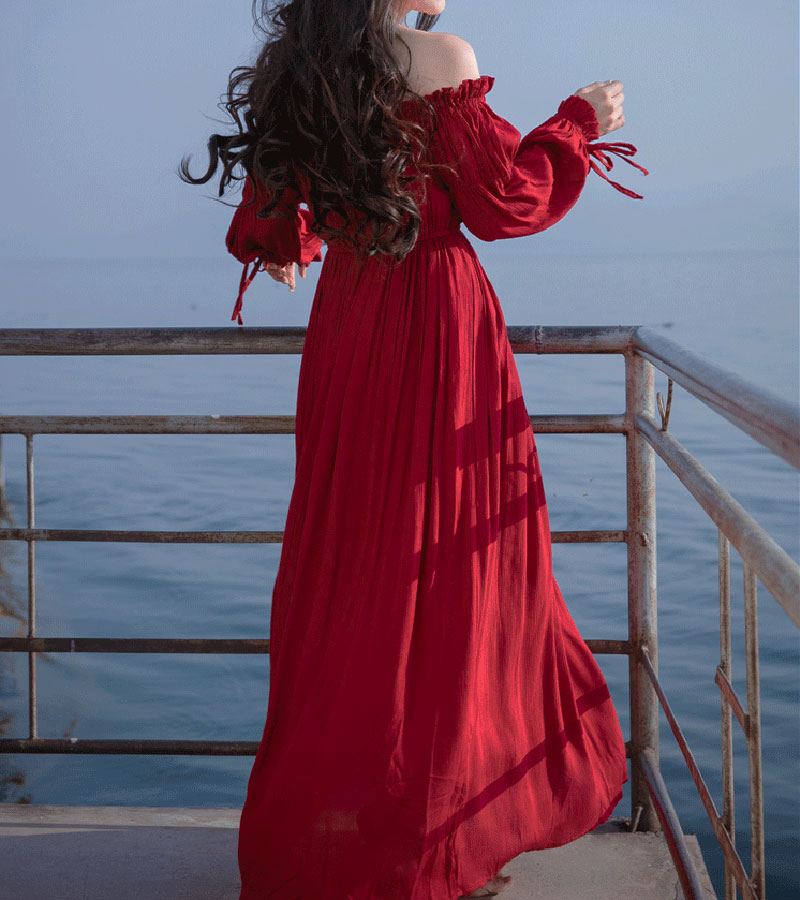 PERHAPS U red strapless long puff sleeve maxi long dress solid off shoulder loose D0526 4