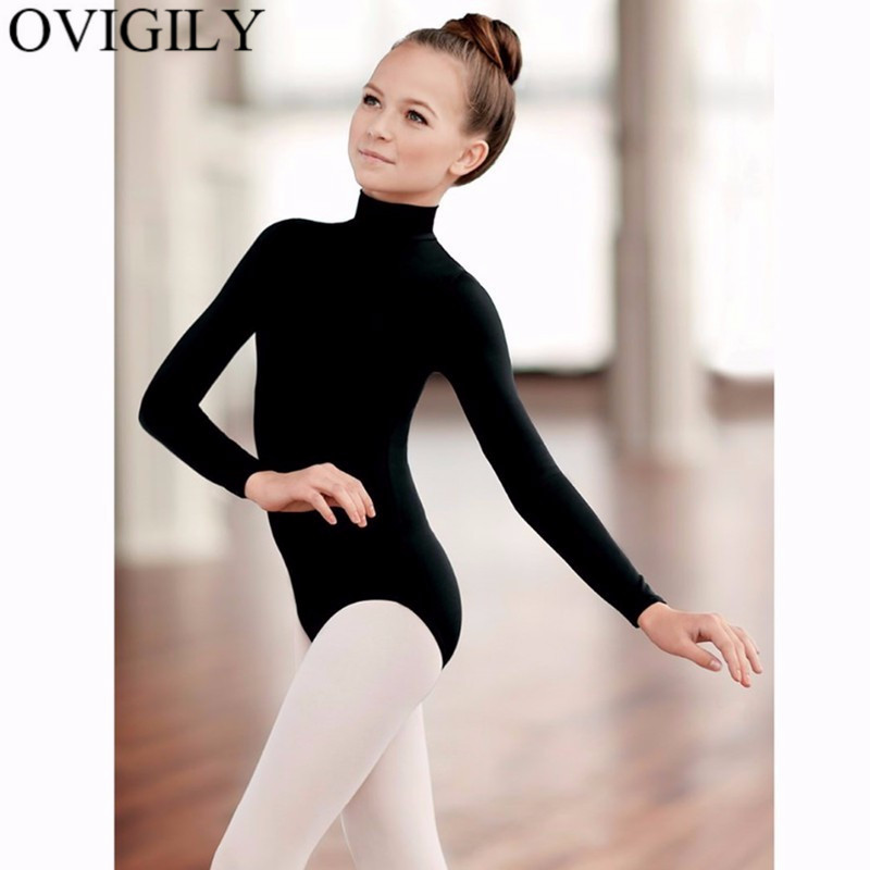 5c16974391c82 OVIGILY Kids Black Long Sleeve Ballet Leotards For Girls Gymnastics Lycra  Spandex Turtleneck Dance Leotard Bodysuits Team Basics-in Ballet from  Novelty ...