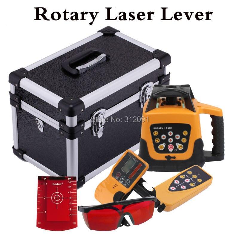 (Ship from DE) automático rojo Rayo de láser giratorio 500 m rango de nivelación automática Rotary Laser nivel de Control remoto con el caso