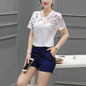 Summer Blouse Fashion Hollow Out Lace Hem Women Blouse And Tops Short Sleeve Top Women's Blouse 6