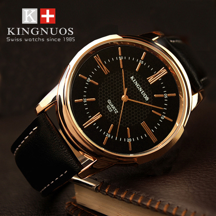 New KINGNUOS Brand Fashion Casual Mens Women Wristwatch Roman Numerals Watch Leather Strap Quartz Couple Luxuly Watches Genuine
