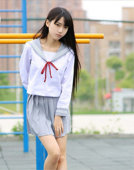 New Japanese/Korean Cute Girls Sailor suit Student School Uniforms Clothing Outfits Short/Long Shirts+Skirt+Ties Sets 2019 new christmas outfits babys outfits kids clothing santa clause suit long sleeve cute fashion toddle