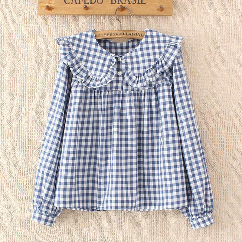 27ed3b9d Women Plaid Shirt Long Sleeve 2018 Spring Summer Tops Ladies Japanese Mori  Girl Peter pan Collar
