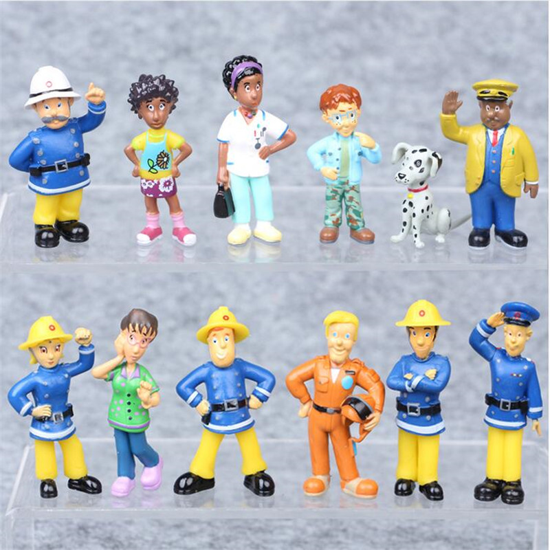 все цены на 12 Pcs/Set Fireman Sam Action Figure 3-6cm Cute Cartoon PVC Doll Kids Toys Christmas Gift Anime Collection model Decoration онлайн