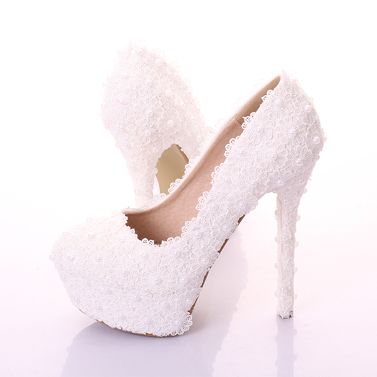 ФОТО Sweet White Flower bridal Shoes Ultra High Heels platform Formal Dress Shoes Thin heels shallow mouth Shoes party Shoes 14CM
