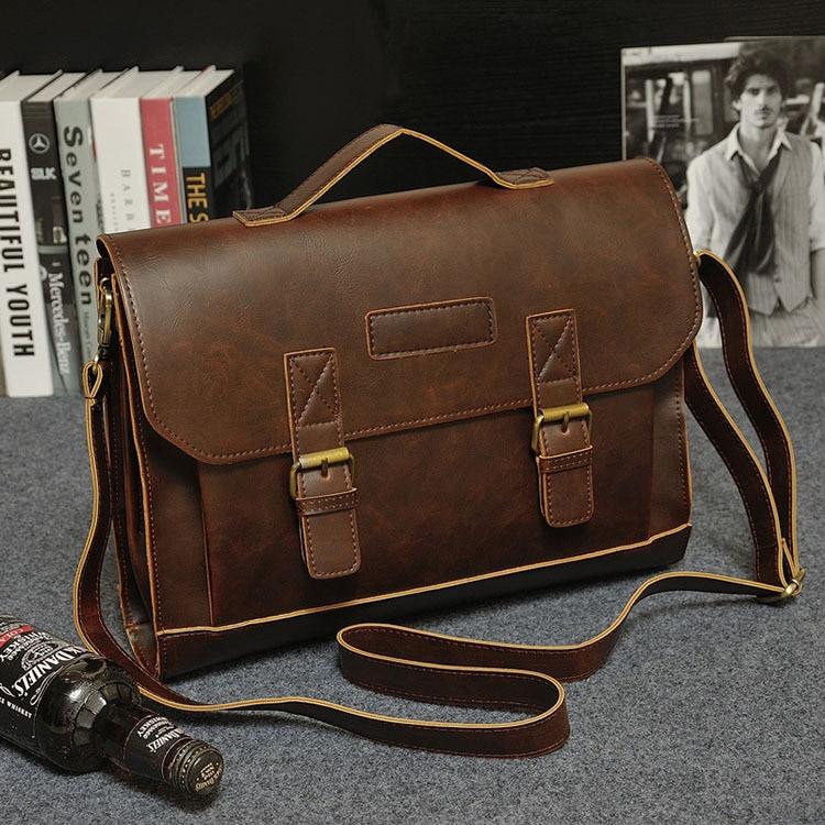 HTB1XEnWcAfb uJkSne1q6zE4XXaW Crazy Horse PU Leather Men Briefcase Famous Brand Men's Messenger Bag Male Laptop Bag Business Fashion Shoulder Bags Travel Bag