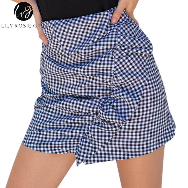 Lily Rosie Girl Plaid Sexy Ruffles Pencil Skirt Women Autumn Beach Mini Bodycon Cotton High Waist Short Skirt