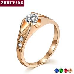 Anel de Casamento Para As Mulheres Clássico Cubic Zirconia Rosa de Ouro ZHOUYANG Jóias Cor Da Moda Amante Anéis de Cristal Austríaco ZYR249