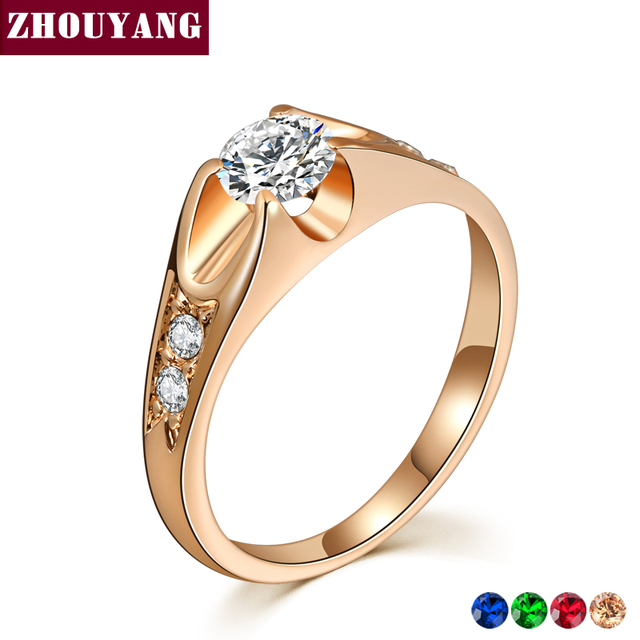 ZHOUYANG Wedding Ring For Women Classic Cubic Zirconia Rose Gold Color Fashion J