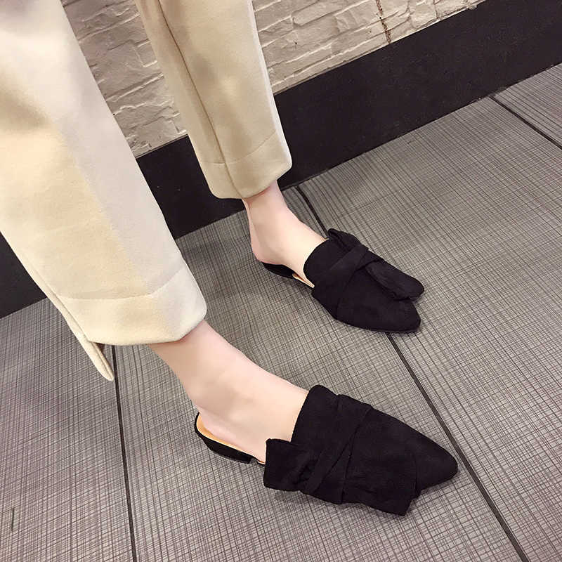 HEE GRAND 2019 Spring Outside Mules Women Butterfly-Knot Low Heels Slip On Pointed Toe Solid Slippers Ladies Daily Shoes XWT1549
