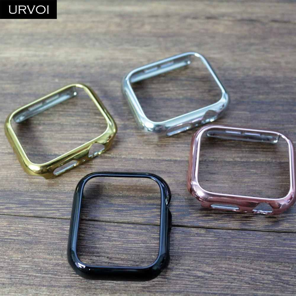 URVOI Bumper for apple watch series 4 case cover for iwatch electroplating Plastic hard frame slim fit Ultra-thin case band