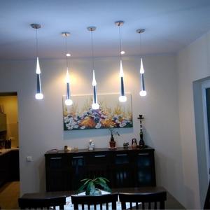 Image 3 - 1 sztuk nowoczesne led stożkowe lampy wiszące 7W aluminium akrylowe oświetlenie wewnętrzne jadalnia/salon bar cafe wiszące lampy