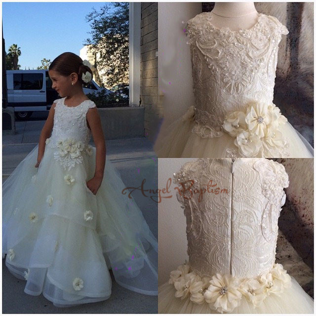 Luxury Bling Crystals Beading Flower Girl Dresses for kids evening Ball Gowns first communion dresses for girls pageant dresses
