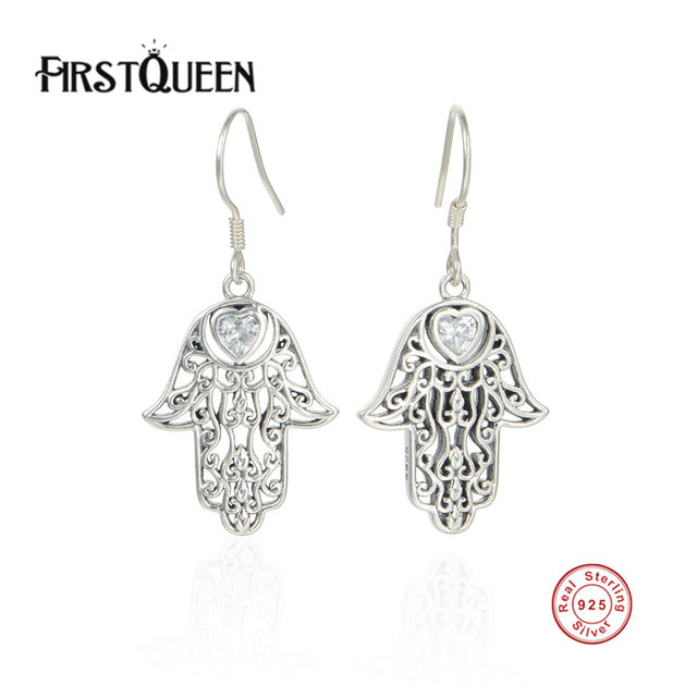 Firstqueen Popular Symbol Of Protection Palm Shaped Hamsa Stud
