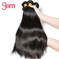 GEM Beauty Malaysian Straight Hair Extensions 1PC Non-Remy Hair Weaving Natural Black Can Be Dyed 100% Human Hair Weave Bundles