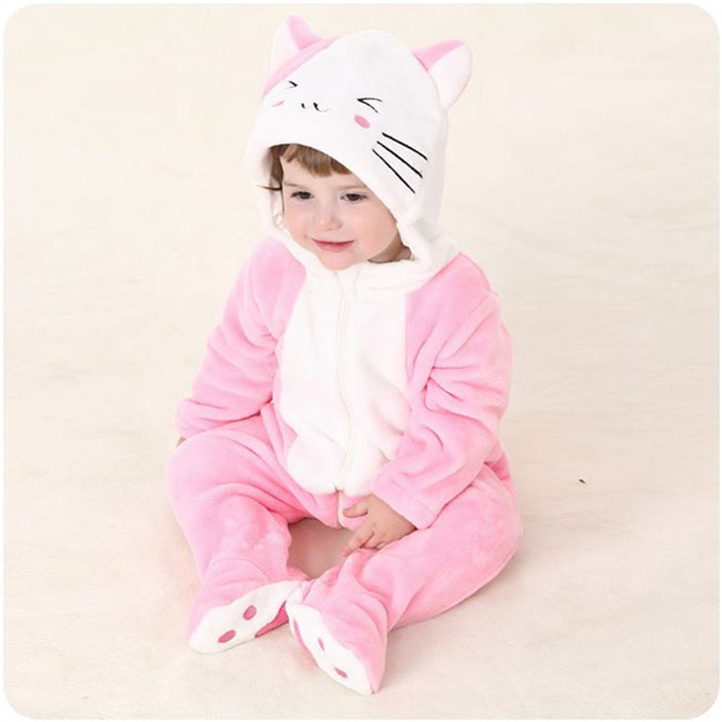 Cartoon Cat Design Baby Romper Pink Kitten Animal Character Jumpsuit 2017 Newborn Infant Toddlers Overalls Baby Clothes RL1-4