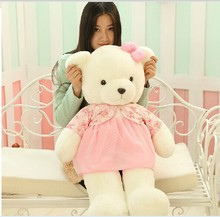 big lovely plush pink skirt teddy bear toy pink flowers coat teddy bear doll gift about 85cm