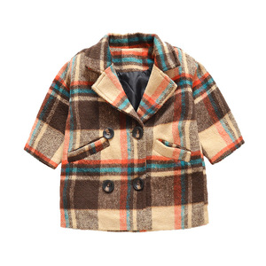 Image 5 - Anlencool 2020 New Spring Girls coat 1 5 years old female baby plaid wool coat kids fur coat  baby girl coat lattice clothing