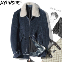 AYUNSUE Short Wool Coat Men Vicugna Autumn Winter Man Jacket Mens Coats Overcoat Thick Slim Jackets Kaban Erkek KJ1494