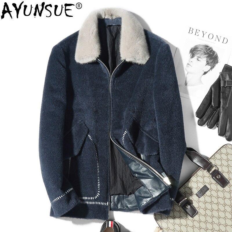 AYUNSUE manteau en laine courte Vicugna automne hiver homme veste hommes manteaux pardessus épais Slim vestes Kaban Erkek HS-73-19552 KJ1494