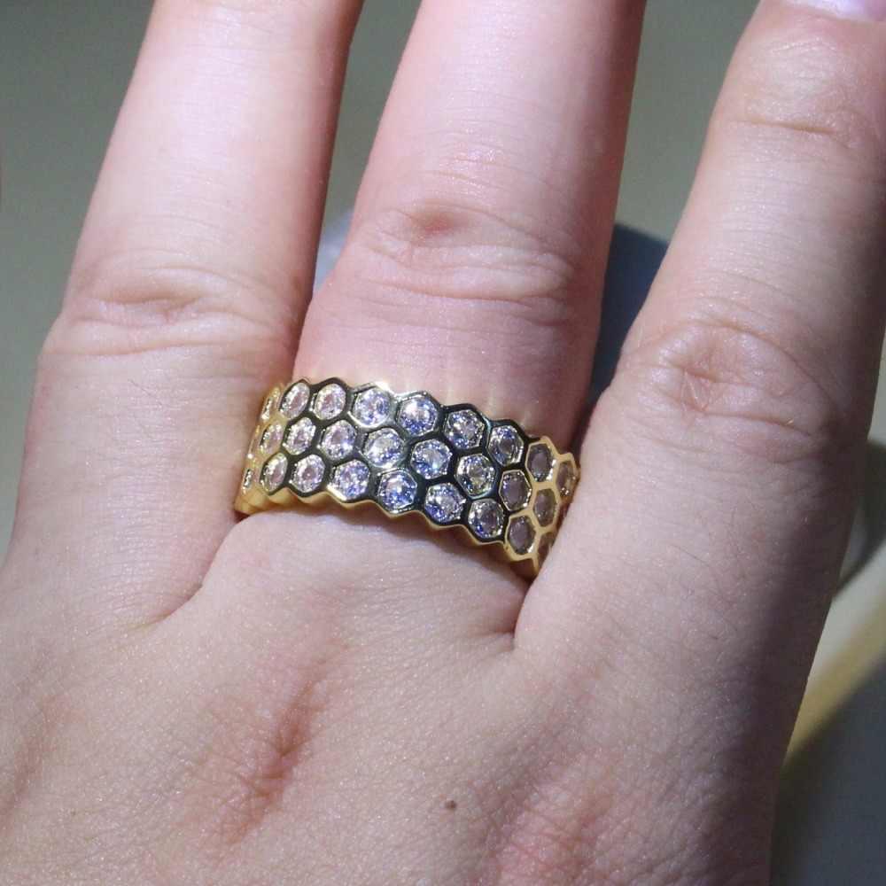 Hình lục giác Hình Học nhẫn 925 Bạc & Vàng Điền Vào Đồ Trang Sức Sang Trọng Net 5A Cubic Zirconi Eternity Vòng Tròn Wedding Nhạc Chuông cho phụ nữ Đặt