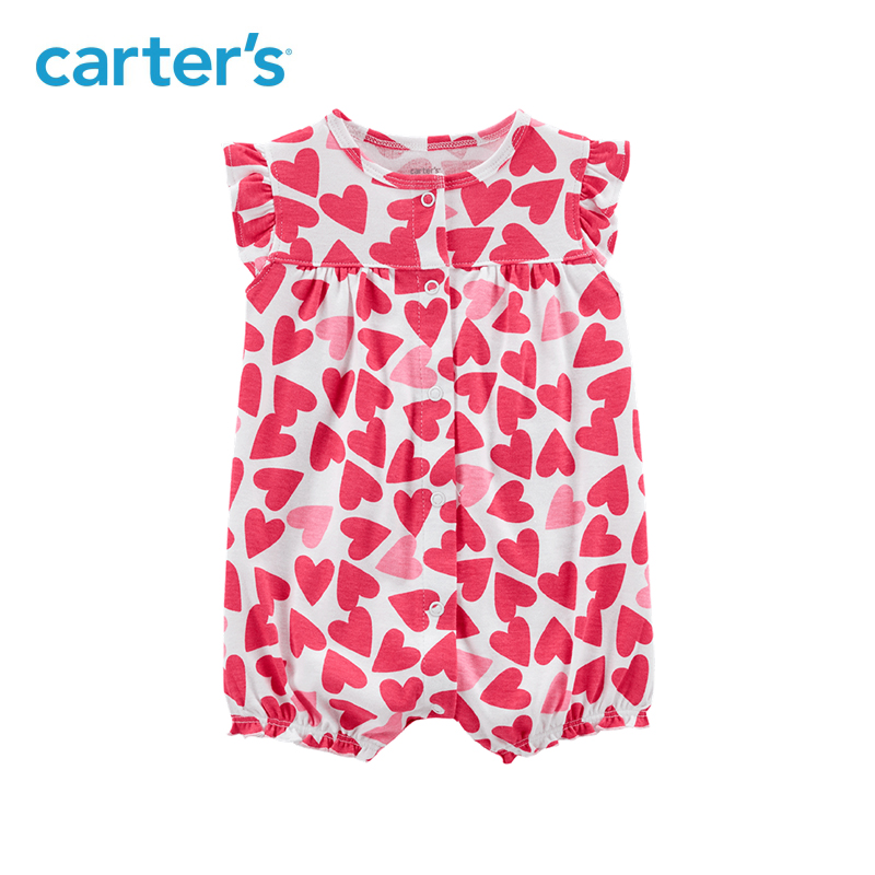 1pcs sweet hearts print Snap-up Cotton Romper Carter's baby girl Summer jumpsuits clothing 118I241 цены онлайн