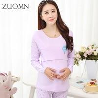 Cotton pregnant women long Johns suits breast feeding pajamas set nursing sleepwear clothes sets spring maternity clothing YL344
