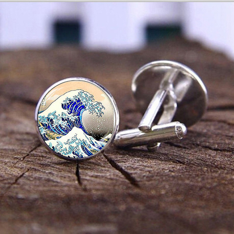 Great Wave of Kanagawa Cufflinks High Quality Hokusai Japanese Wave Glass Dome Photo Shirt Cufflinks for Mens Fashion Jewelry little hokusai