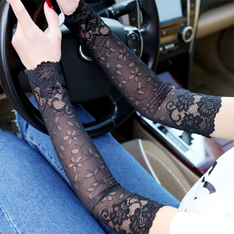 ZEBERY 2PCS 38CM Lace Arm Sleeve Breathable Bracers Anti-UV Lace Pattern Woman Arm Sleeve Clothing Accessories
