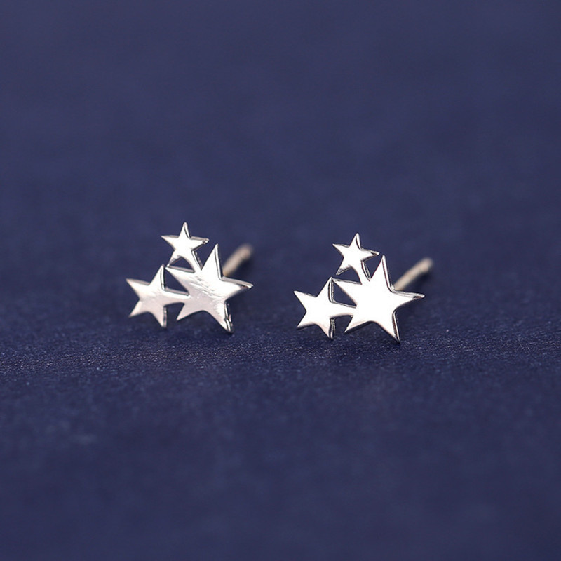 1 Pair New Fashion Cute Tiny Silver Color 3 Stars Stud Earrings Geometric Ethnic 925 Jewelry Gift For Women Girls Female Brincos